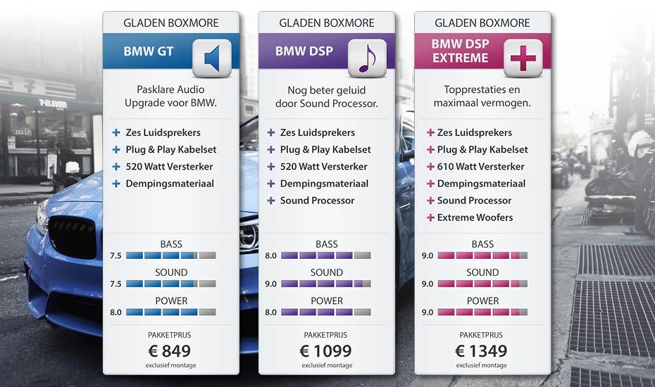 Prijzen van de BMW audio upgrade pakketten bij D&B Inbouwstation.